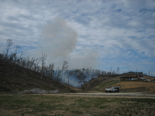 Fire blazed through portions of downed trees in the Cherokee Valley area this afternoon. The trees had been blown down nearly a year ago when tornadoes devastated much of the area.
