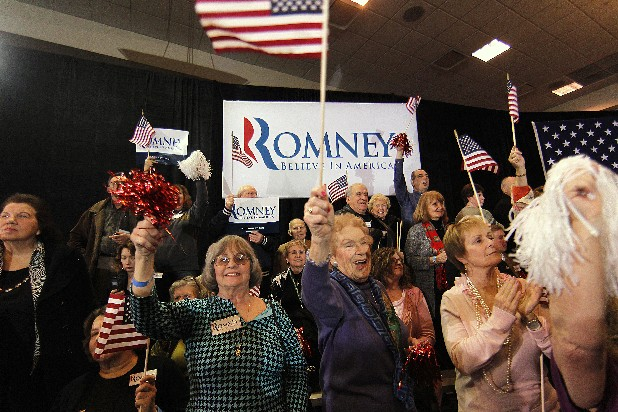 Supporters of Republican presidential candidate, former Massachusetts Gov. Mitt Romney, cheer as election results trickle in at his election watch party in Novi, Mich., Tuesday, Feb. 28, 2012.