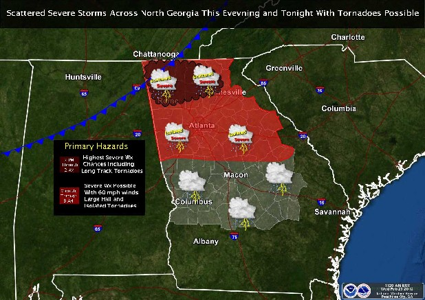 NOAA weather map shows possible severe storms in north Georgia.