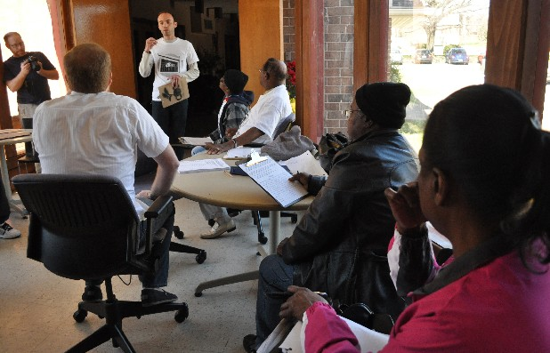 Westside residents gather Saturday morning at a meeting at Renaissance Presbyterian Church on Boynton Drive in Chattanooga. The Westside residents were getting ready to go door-to-door in other public housing developments to ask people to sign a petition asking that any public housing units demolished in the city be replaced.