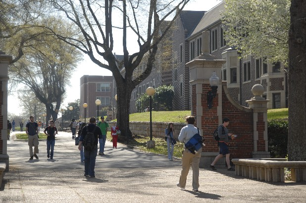 UTC students walk across the campus in this file photo.