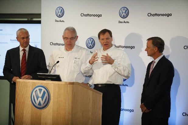 Jonathan Browning, CEO of Volkswagon Group of America, Hans-Herbert Jagla, the EVP of Human Resources at Volkswagon Chattanooga, Frank Fischer, the CEO of Volkswagon Chattanooga, and Governor Bill Haslam at a press conference today at Volkswagon's Chattanooga area plant to announce the planned addition of 1,000 new jobs in the 2012 year.