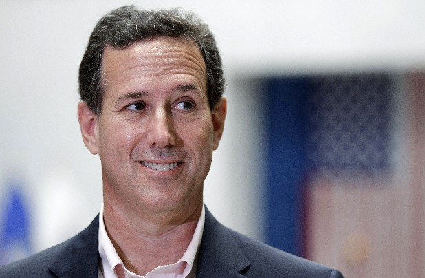 Republican presidential candidate and former Pennsylvania Sen. Rick Santorum talks with the media in San Antonio, Texas.
