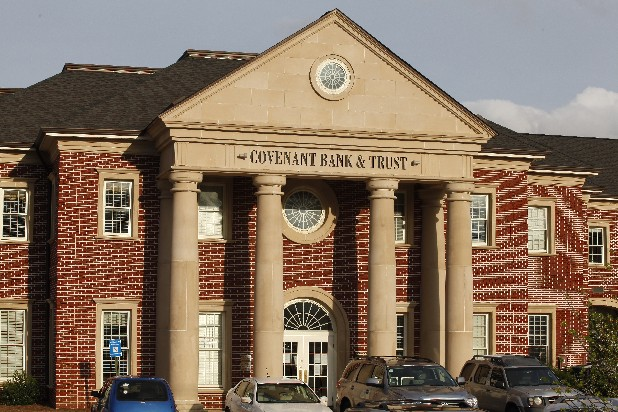 The Covenant Bank & Trust building is located in Rock Spring, Ga. Regulators shut down the bank on Friday, which will reopen next week as a branch of Stearns Bank.
