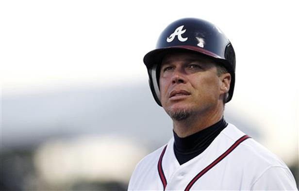 Atlanta Braves third baseman Chipper Jones announces that he will retire following the 2012 season during a news conference before a spring training baseball game against the Miami Marlins in Kissimmee, Fla., Thursday, March 22, 2012.