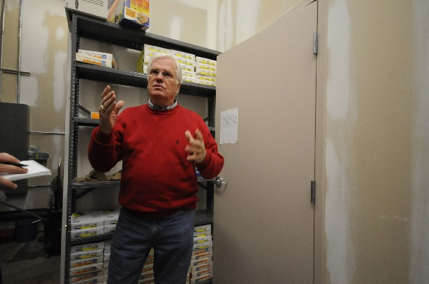 Hamilton County Trustee Bill Hullander stands in the stock room of the Trustee's satellite office in the Bonny Oaks Industrial Park in this file photo.
