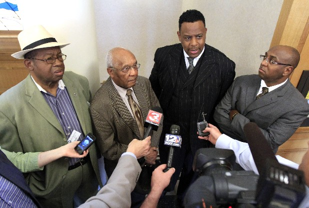 Napoleon Williams, James Mapp, Kevin Adams and Jeffrey Wilson, from left, voice their disagreement with the city's decision to relocate the Bessie Smith Strut to the Riverbend site to improve security. Mayor Ron Littlefield held a brief news conference at Chattanooga's City Hall on Thursday morning to talk about the relocation.