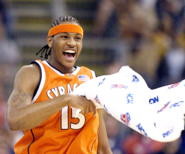 Syracuse's Anthony Carmelo celebrates during the title game against Kansas in 2003.