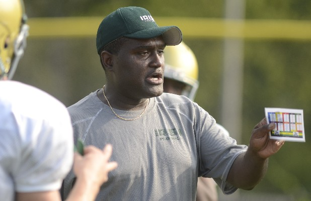 Charles Fant participates in practice at Notre Dame High School in this file photo. The assistant coach has been named the new head coach.