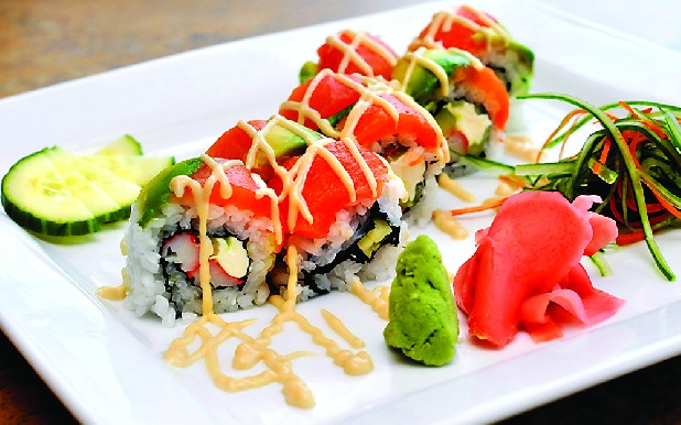 In addition to its hibachi grill, Kanpai of Tokyo offers gourmet sushi, such as this Special-California roll with tuna, avocado and spicy mayonnaise.