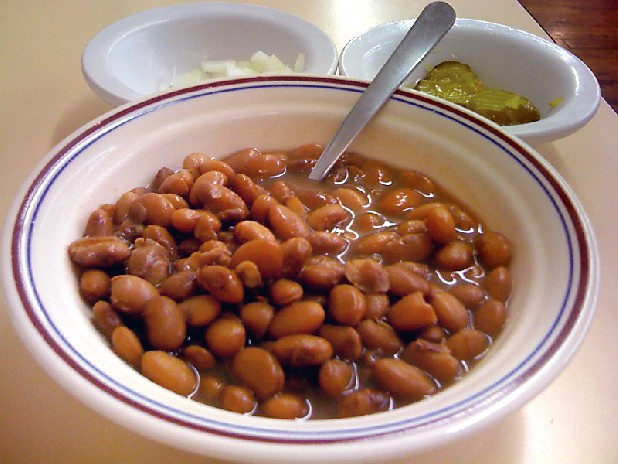 A complimentary bowl of beans, with onions and pickles, is served with every lunch and dinner plate at Nitty Gritty Cafe in Soddy-Daisy.