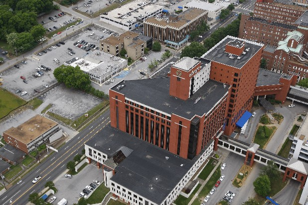 Aerial view of Erlanger Hospital in Chattanooga, Tenn.