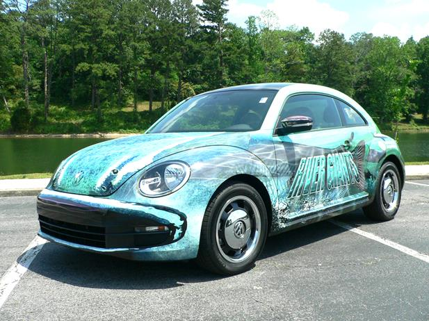 Our 2012 Beetle test car was dressed up to mark a new River Giants exhibit at the Tennessee Aquarium. 
