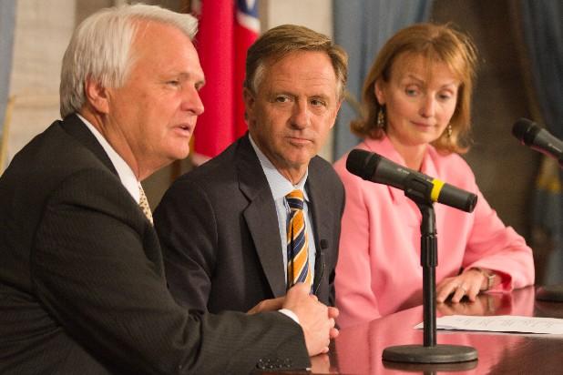 Gov. Bill Haslam, center, appears at a press conference on Tuesday following the adjournment of the 107th General Assembly in Nashville. The Republican governor was joined by House Speaker Beth Harwell, R-Nashville, and Senate Speaker Ron Ramsey, R-Blountville, in lauding the passage of a budget plan that includes cuts to the estate and gift taxes and the sales tax on groceries.
