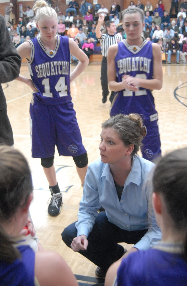 Sequatchie County coach Anita Barker talks to players in this file photo.