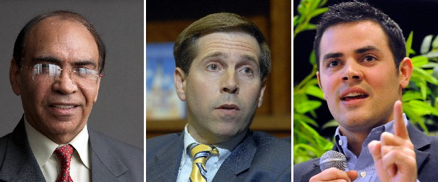 U.S. Rep. Chuck Fleischmann, center, will face two of his challengers -- Ron Bhalla, left, and Weston Wamp -- during the Third Congressional District Republican primary debate sponsored by the Chattanooga Times Free Press and WRCB Channel 3.
