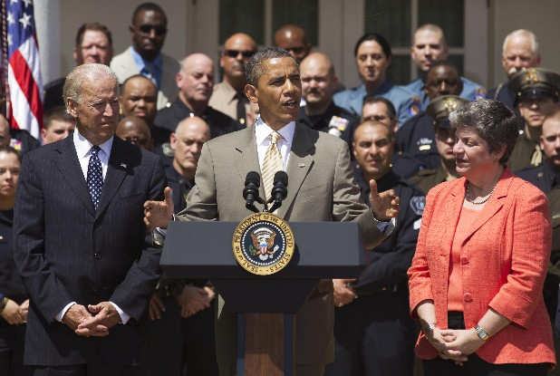President Obama honors the nation's top police officers in a White House ceremony on Saturday. Chattanooga Officer Lorin Johnston is at top left, next to the American flag. Johnston survived the April 2011 shootout at the U.S. Money Shops pawnshop on Brainerd Road. His fellow officer, Sgt. Tim Chapin, was killed.