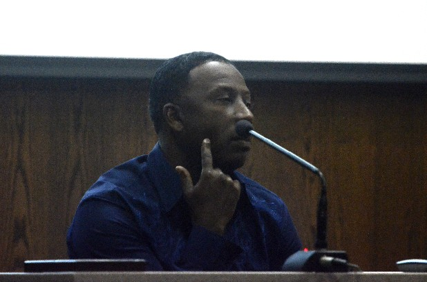 "Josquin Jackson testifies in Judge Rebecca Stern's courtroom in the case of the shooting death of rapper Robert ""Brikk"" Brown. Jackson was also shot but survived. Dexter Talley Jr. and Alonzo ""Butch"" Grace have been charged in the 2009 killing."
