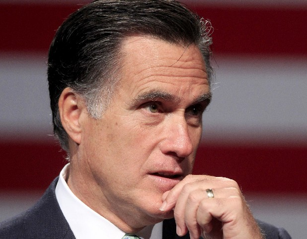 Republican presidential candidate Mitt Romney speaks in Lansing, Mich.