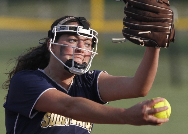 Soddy-Daisy's Kelsey Nunley, No. 4, throws against a Daniel Boone High School hitter during Spring Fling in Murfreesboro, Tenn., on Tuesday, May 22, 2012.