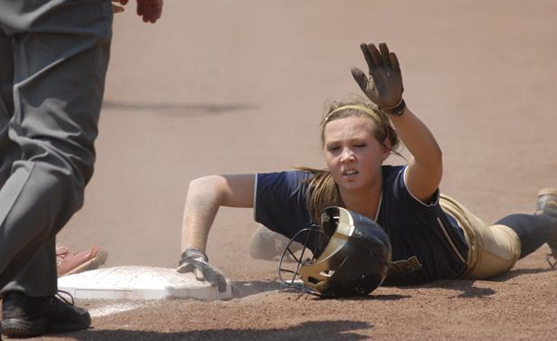 Soddy Daisy outfielder Hannah Smith asked for timeout after making it safely back to 3rd.