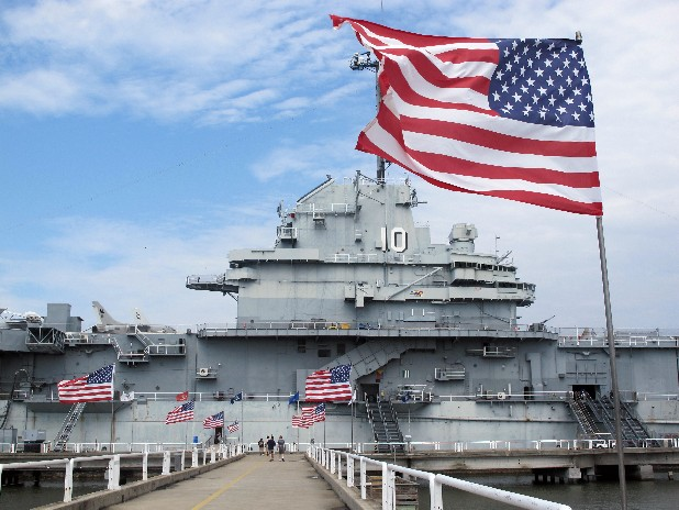 The USS Yorktown is seen in Mount Pleasant, S.C., on Monday. The Yorktown was named for the carrier of the same name that sank during the Battle of Midway 70 years ago on Monday.