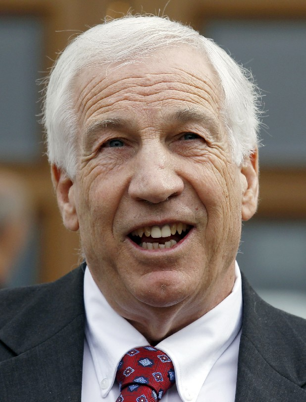 In this Feb. 10, 2012 file photo, Jerry Sandusky, a former Penn State assistant football coach charged with sexually abusing boys, speaks to the media at the Centre County Courthouse after a bail conditions hearing in Bellefonte, Pa. Alleged victims of Sandusky will not be allowed to avoid disclosure of their names by testifying under pseudonyms, and tweets or other electronic communications by reporters will not be permitted during the trial, the judge ruled Monday, June 4, 2012. (AP Photo/Alex Brandon, File)