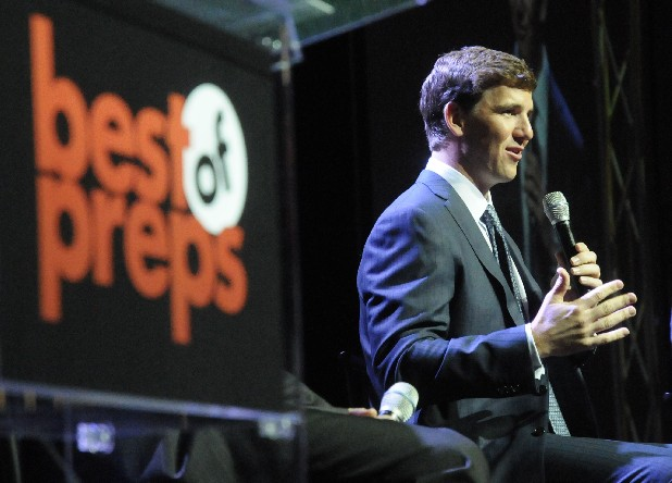 Super Bowl champion quarterback Eli Manning talks to more than 2,000 attendees at the 2012 Best of Preps banquet Thursday at the Chattanooga Convention Center.