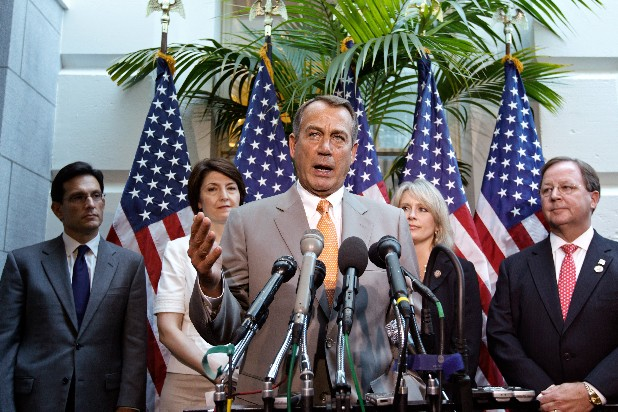 House Speaker John Boehner of Ohio, center, joined by other House GOP leaders, gestures during a news conference on Capitol Hill in Washington, Wednesday, June 27, 2012, following a political strategy session. From left are, House Majority Leader Eric Cantor of Va., Rep. Cathy McMorris Rodgers, R-Wash., Boehner, Rep. Renee Ellmers, R-NC, and Rep. Bill Flores, R-Texas.