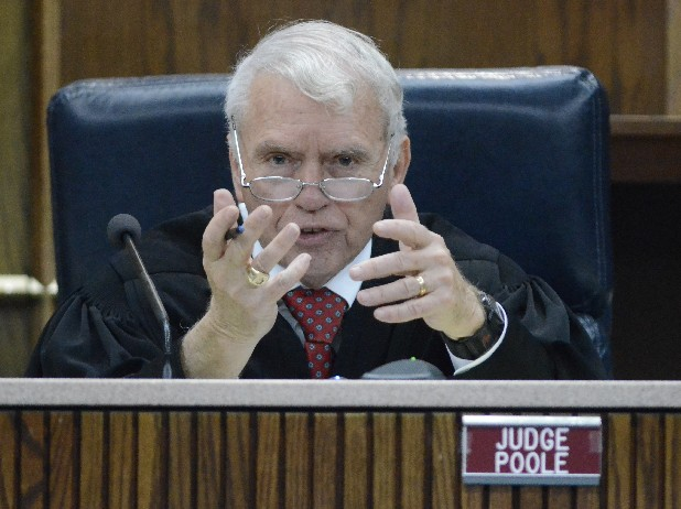 Judge Don Poole speaks during a hearing.