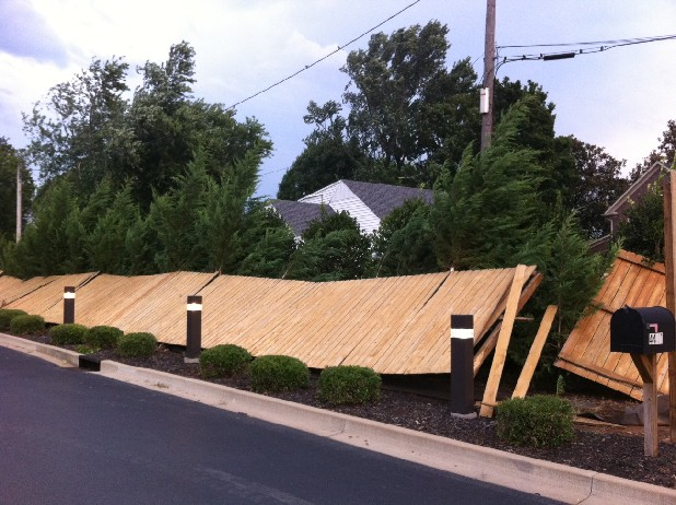 A fence was blown down at the Cleveland, Tenn., Walgreens on Keith St.