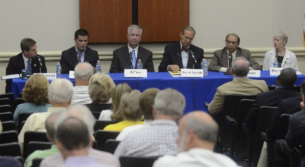 Candidates Chuck Fleischmann, Weston Wamp, Bill Taylor, Scottie Mayfield, Ron Bhalla and Dr. Mary Headrick participate in a medical-themed forum Monday at Erlanger hospital among candidates for Tennessee's 3rd Congressional District race.