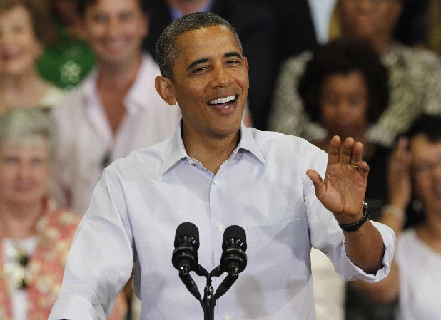 President Barack Obama gestures during a campaign stop at Green Run High School in Virginia Beach, Va., Friday.
