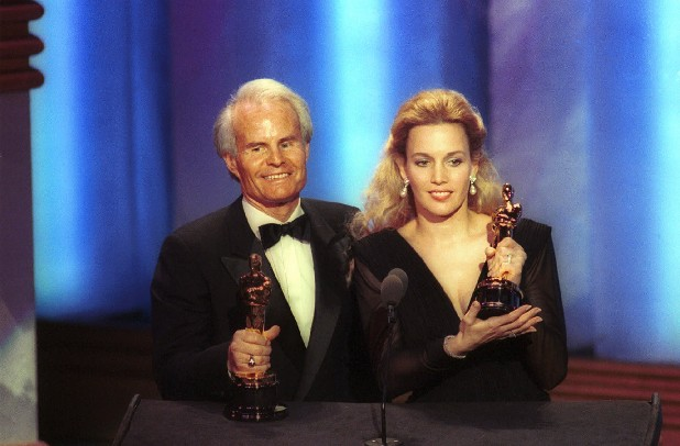 "In this March 26, 1990 file photo, producers Richard D. Zanuck, and Lili Fini Zanuck accept Oscars for best picture of the year for ""Driving Miss Daisy"" at the 62nd annual Academy Awards in Los Angeles. According to his publicist, Richard D. Zanuck has died at age 77 on Friday, July 13, 2012, in Los Angeles."