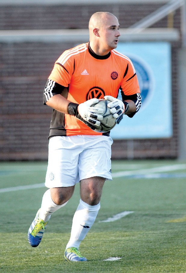 Chattanooga Football Club goalkeeper Greg Hartley made some crucial saves in the team's playoff win over the Georgia Revolution on Friday.