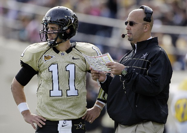 Vanderbilt head coach James Franklin talks with quarterback Jordan Rodgers (11) in the second quarter of an NCAA college football game against Kentucky on Saturday, Nov. 12, 2011, in Nashville, Tenn.