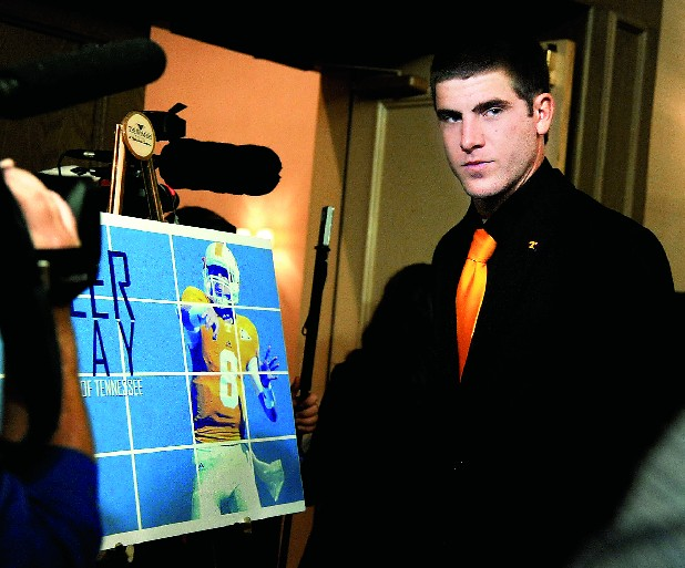 Tennessee quarteback Tyler Bray attends the Southeastern Conference NCAA college football media days in Hoover, Ala.