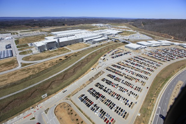 This aerial photo shows the Volkswagen plant at Enterprise South.
