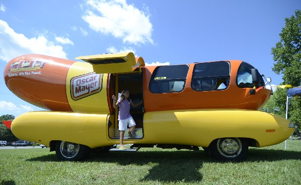 Lexie Conn exits the Oscar Mayer Weinermobile Friday at the Tennessee Baptist Children's Home.