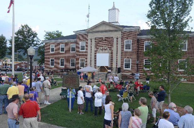 People gather on the courthouse lawn in Ringgold, Ga., Tuesday to keep up with election results.