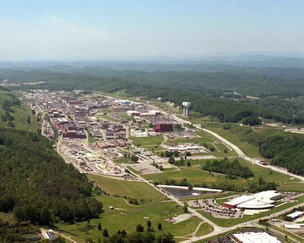 Aerial photograph of the Y-12 nuclear weapons plant in Oak Ridge.