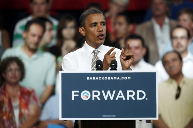 President Barack Obama speaks during a campaign stop at the Colorado State Fairgrounds in Pueblo, Colo., Thursday.