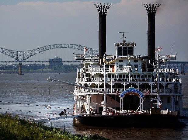 Low water forced the American Queen to dock on the north side of Mud Island in Memphis, Tenn. Thursday August 9, 2012, till it can continue its voyage to Vicksburg, Miss.
