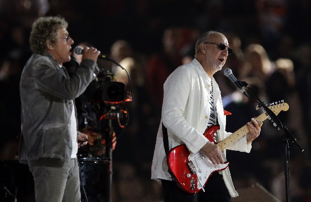 The Who guitarist Pete Townsend, right, and singer Roger Daltrey perform during the Closing Ceremony at the 2012 Summer Olympics in London.