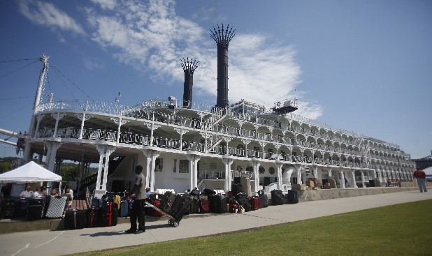 The American Queen sits docked at Ross's Landing on Monday for a WTCI banquet. The paddle-driven vessel is purported to be the largest boat of its kind. It was built in 1995.