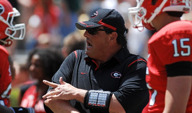 Georgia defensive coordinator Todd Grantham talks with members of the defense in this file photo.