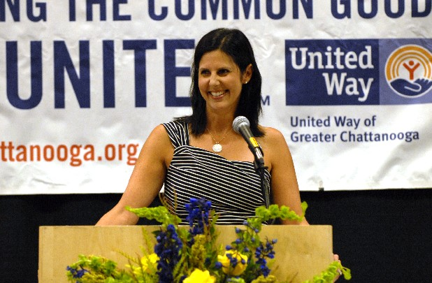 United Way of Greater Chattanooga campaign Chairwoman Alison Lebovitz addresses attendants of United Way's annual Community Campaign Kickoff Tuesday at the Chattanooga Convention and Trade Center. Lebovitz and the United Way Campaign Cabinet hope to raise between $11.6 million and $12 million by the end of 2012 to fund local programs aimed at improving the community.