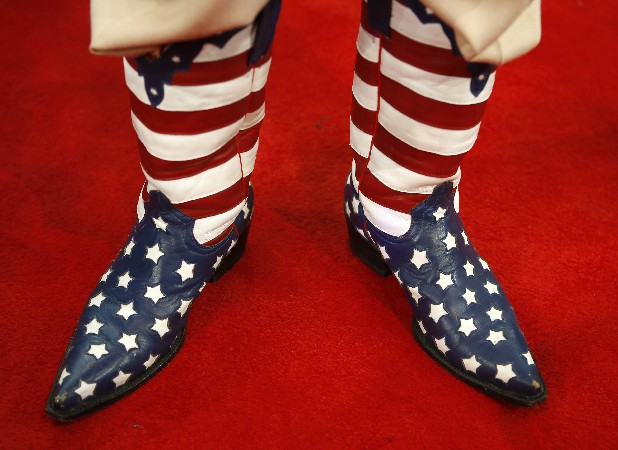 California delegate Don Genhart fashions his cowboy boots at the Republican National Convention in Tampa, Fla., on Tuesday.