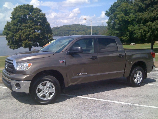 The Toyota Tundra's available 5.7 liter V-8 engine makes the truck capable of towing more than 10,000 pounds. 