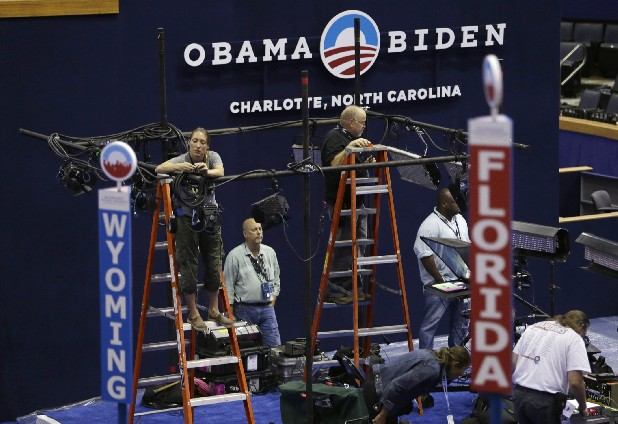 Production crews prepare on the floor at the Democratic National Convention inside Time Warner Cable Arena in Charlotte, N.C., on Saturday.